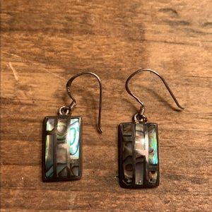 Silver earrings with green/blue hues